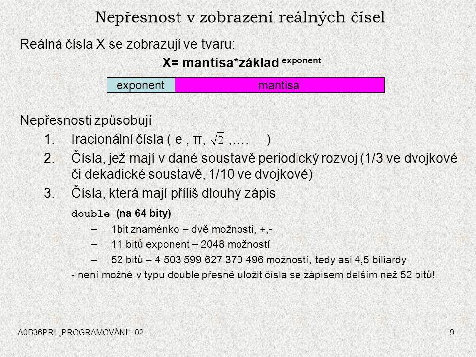 """A0B36PRI """"PROGRAMOVÁNÍ 029 Nepřesnost v zobrazení reálných čísel Reálná čísla X se zobrazují ve tvaru: X= mantisa*základ exponent Nepřesnosti způsobují 1.Iracionální čísla ( e, π,,…."""