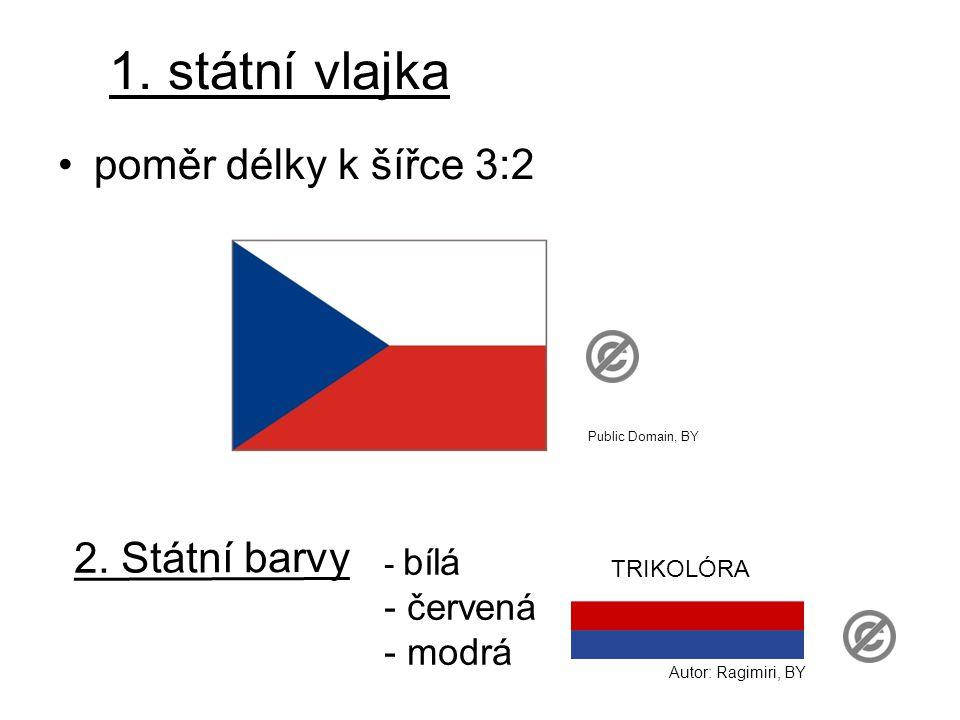 1. státní vlajka poměr délky k šířce 3:2 2. Státní barvy - bílá - červená - modrá Autor: Ragimiri, BY TRIKOLÓRA Public Domain, BY