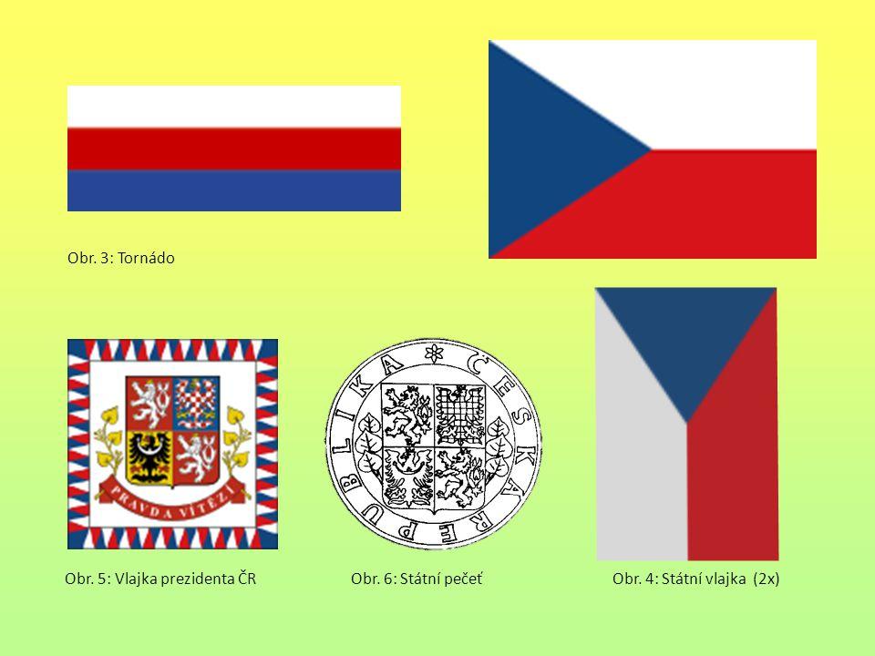 Obr. 3: Tornádo Obr. 5: Vlajka prezidenta ČR Obr. 6: Státní pečeť Obr. 4: Státní vlajka (2x)