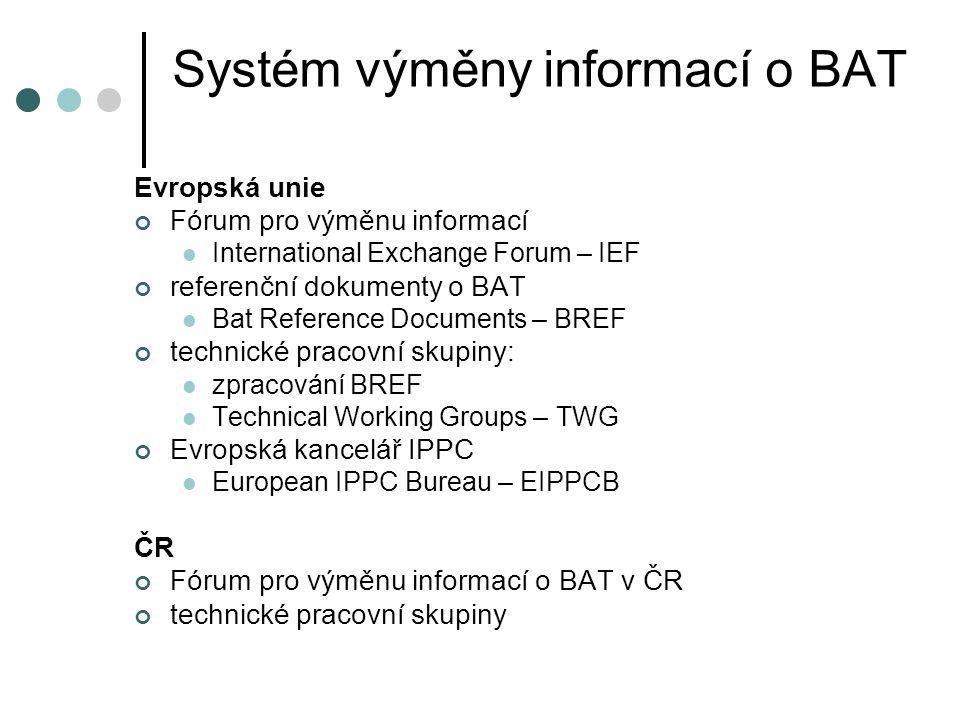 Systém výměny informací o BAT Evropská unie Fórum pro výměnu informací International Exchange Forum – IEF referenční dokumenty o BAT Bat Reference Doc