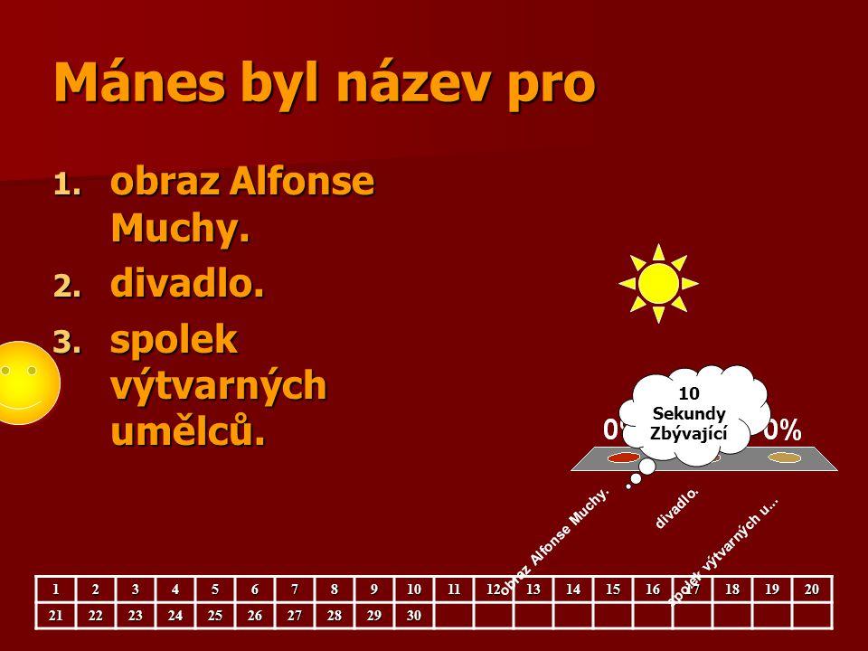 Mánes byl název pro 1. obraz Alfonse Muchy. 2. divadlo. 3. spolek výtvarných umělců. 123456789101112131415161718192021222324252627282930 10 Sekundy Zb
