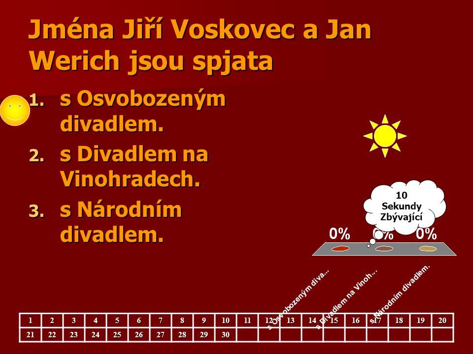 Jména Jiří Voskovec a Jan Werich jsou spjata 1. s Osvobozeným divadlem. 2. s Divadlem na Vinohradech. 3. s Národním divadlem. 123456789101112131415161
