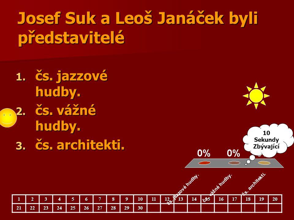 Josef Suk a Leoš Janáček byli představitelé 1. čs. jazzové hudby. 2. čs. vážné hudby. 3. čs. architekti. 123456789101112131415161718192021222324252627