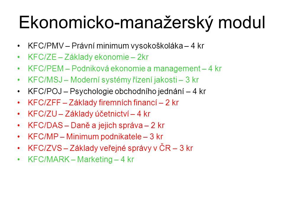 Ekonomicko-manažerský modul KFC/PMV – Právní minimum vysokoškoláka – 4 kr KFC/ZE – Základy ekonomie – 2kr KFC/PEM – Podniková ekonomie a management – 4 kr KFC/MSJ – Moderní systémy řízení jakosti – 3 kr KFC/POJ – Psychologie obchodního jednání – 4 kr KFC/ZFF – Základy firemních financí – 2 kr KFC/ZU – Základy účetnictví – 4 kr KFC/DAS – Daně a jejich správa – 2 kr KFC/MP – Minimum podnikatele – 3 kr KFC/ZVS – Základy veřejné správy v ČR – 3 kr KFC/MARK – Marketing – 4 kr