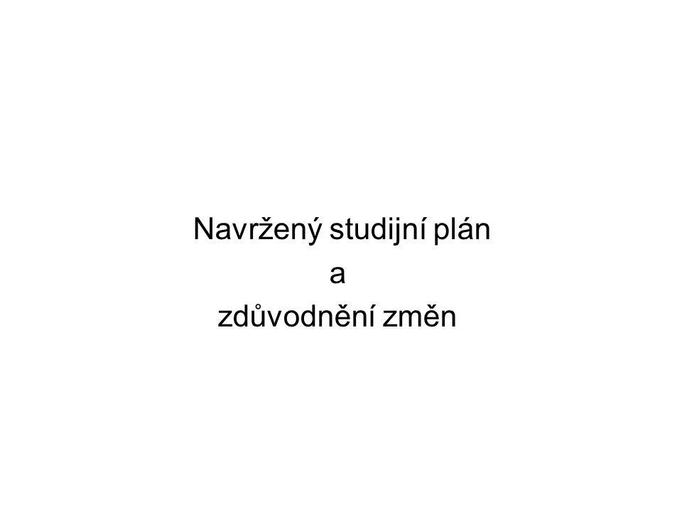 Navržený studijní plán a zdůvodnění změn