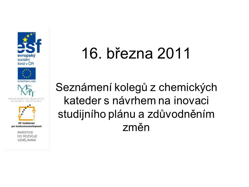 16. března 2011 Seznámení kolegů z chemických kateder s návrhem na inovaci studijního plánu a zdůvodněním změn