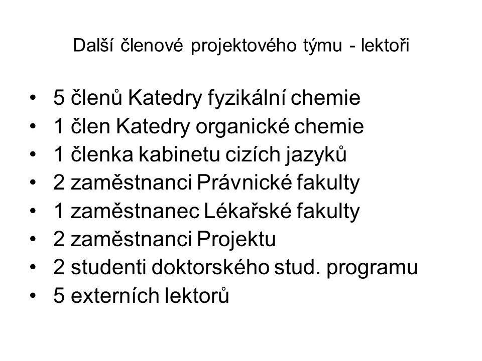 Další členové projektového týmu - lektoři 5 členů Katedry fyzikální chemie 1 člen Katedry organické chemie 1 členka kabinetu cizích jazyků 2 zaměstnan