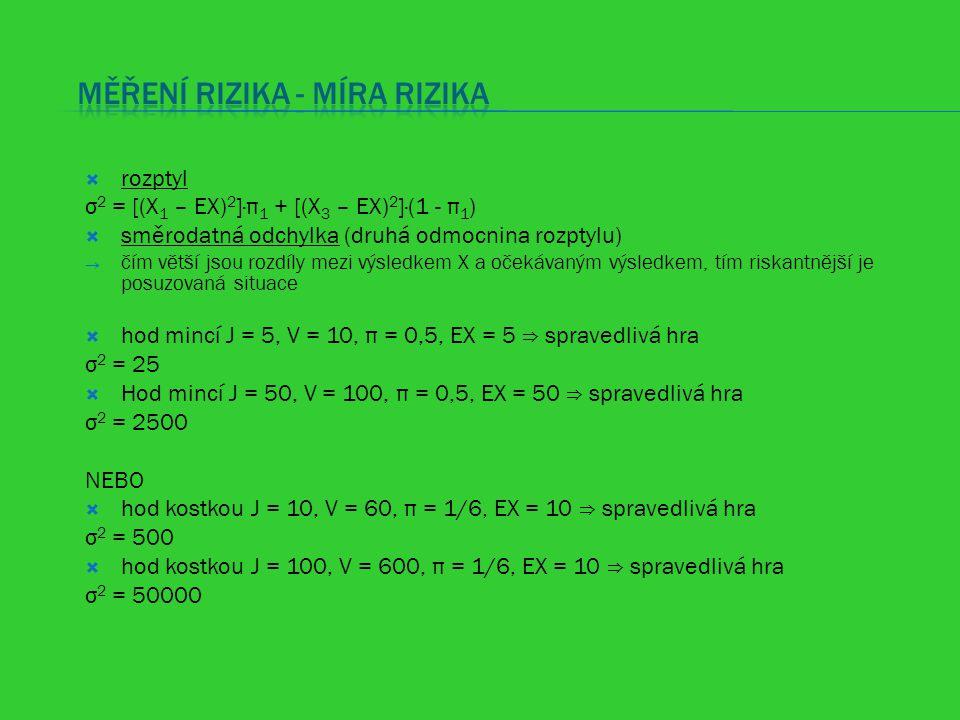  rozptyl σ 2 = [(X 1 – EX) 2 ]·π 1 + [(X 3 – EX) 2 ]·(1 - π 1 )  směrodatná odchylka (druhá odmocnina rozptylu)  čím větší jsou rozdíly mezi výsled