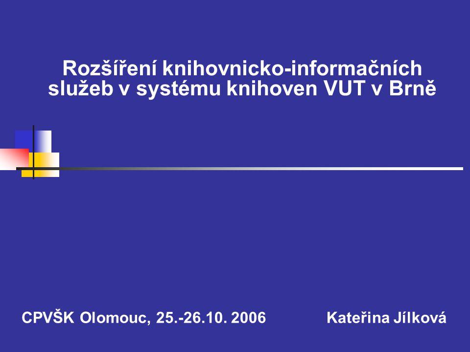 """2 Úvod  V rámci okruhu E a řešen projekt """"Rozšíření knihovnicko-informačních služeb v systému knihoven VUT v Brně  Cíle:  Zkvalitnění knihovnicko-informačních služeb  Rozšíření služeb – viz MVS  Dále např."""