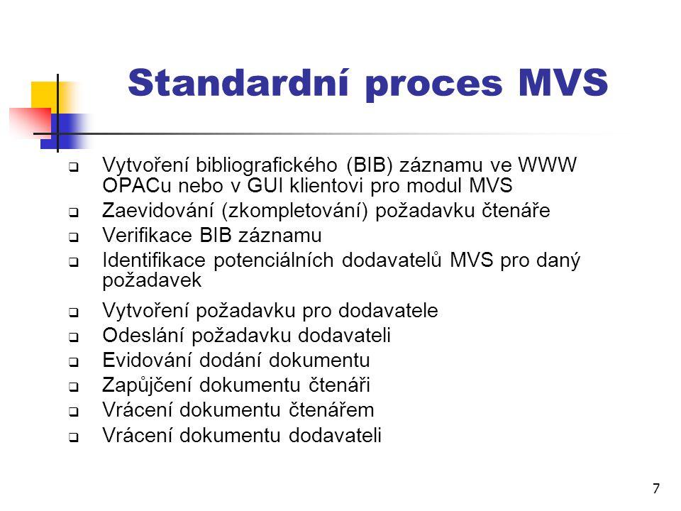 7 Standardní proces MVS  Vytvoření bibliografického (BIB) záznamu ve WWW OPACu nebo v GUI klientovi pro modul MVS  Zaevidování (zkompletování) požadavku čtenáře  Verifikace BIB záznamu  Identifikace potenciálních dodavatelů MVS pro daný požadavek  Vytvoření požadavku pro dodavatele  Odeslání požadavku dodavateli  Evidování dodání dokumentu  Zapůjčení dokumentu čtenáři  Vrácení dokumentu čtenářem  Vrácení dokumentu dodavateli