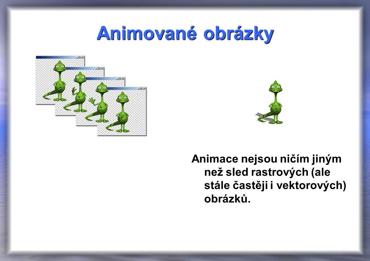 Animované obrázky Animace nejsou ničím jiným než sled rastrových (ale stále častěji i vektorových) obrázků.