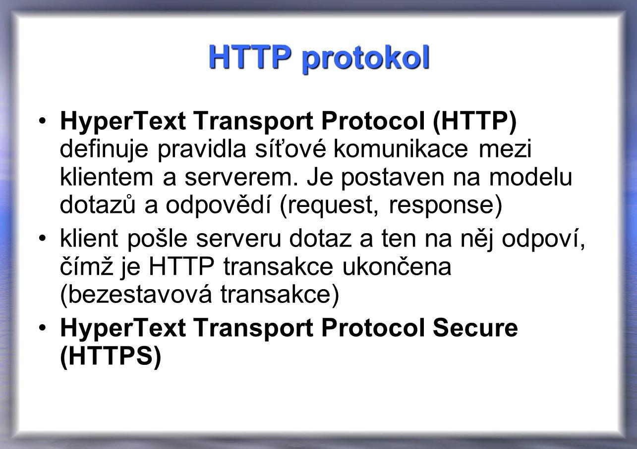 HTTP protokol HyperText Transport Protocol (HTTP) definuje pravidla síťové komunikace mezi klientem a serverem.