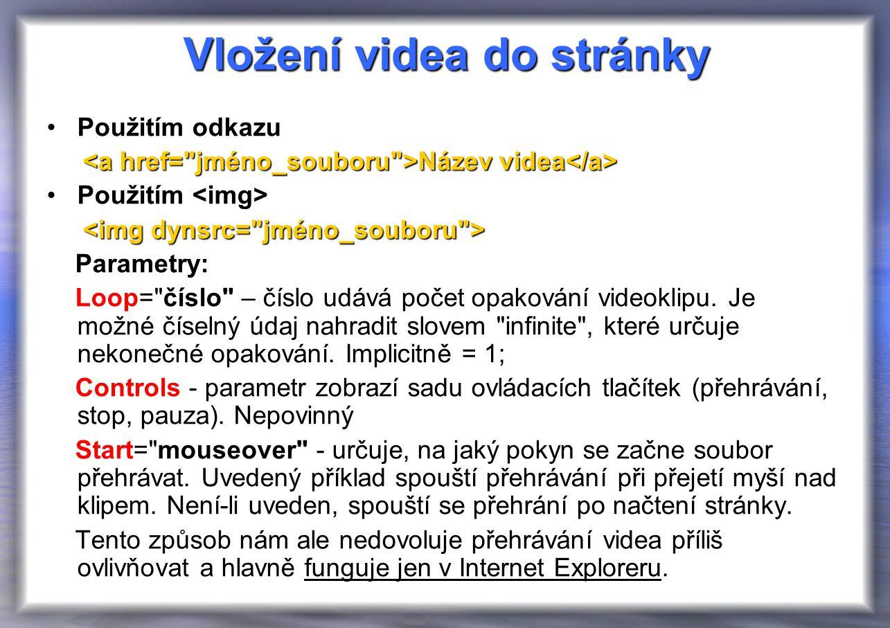 Vložení videa do stránky Použitím odkazu Název videa Název videa Použitím Parametry: Loop= číslo – číslo udává počet opakování videoklipu.