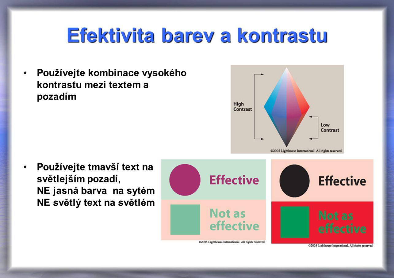 Efektivita barev a kontrastu Používejte kombinace vysokého kontrastu mezi textem a pozadím Používejte tmavší text na světlejším pozadí, NE jasná barva na sytém NE světlý text na světlém