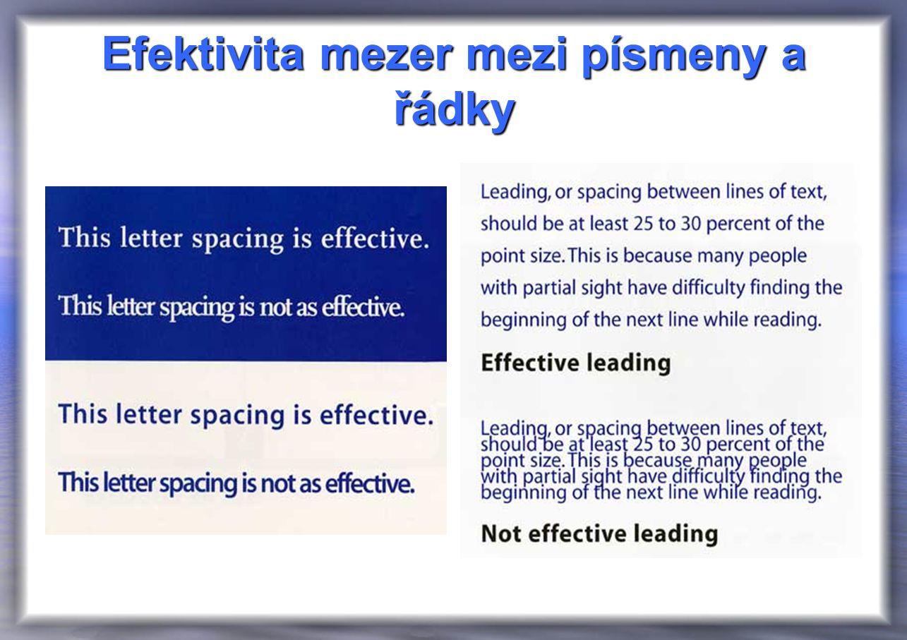 Efektivita mezer mezi písmeny a řádky