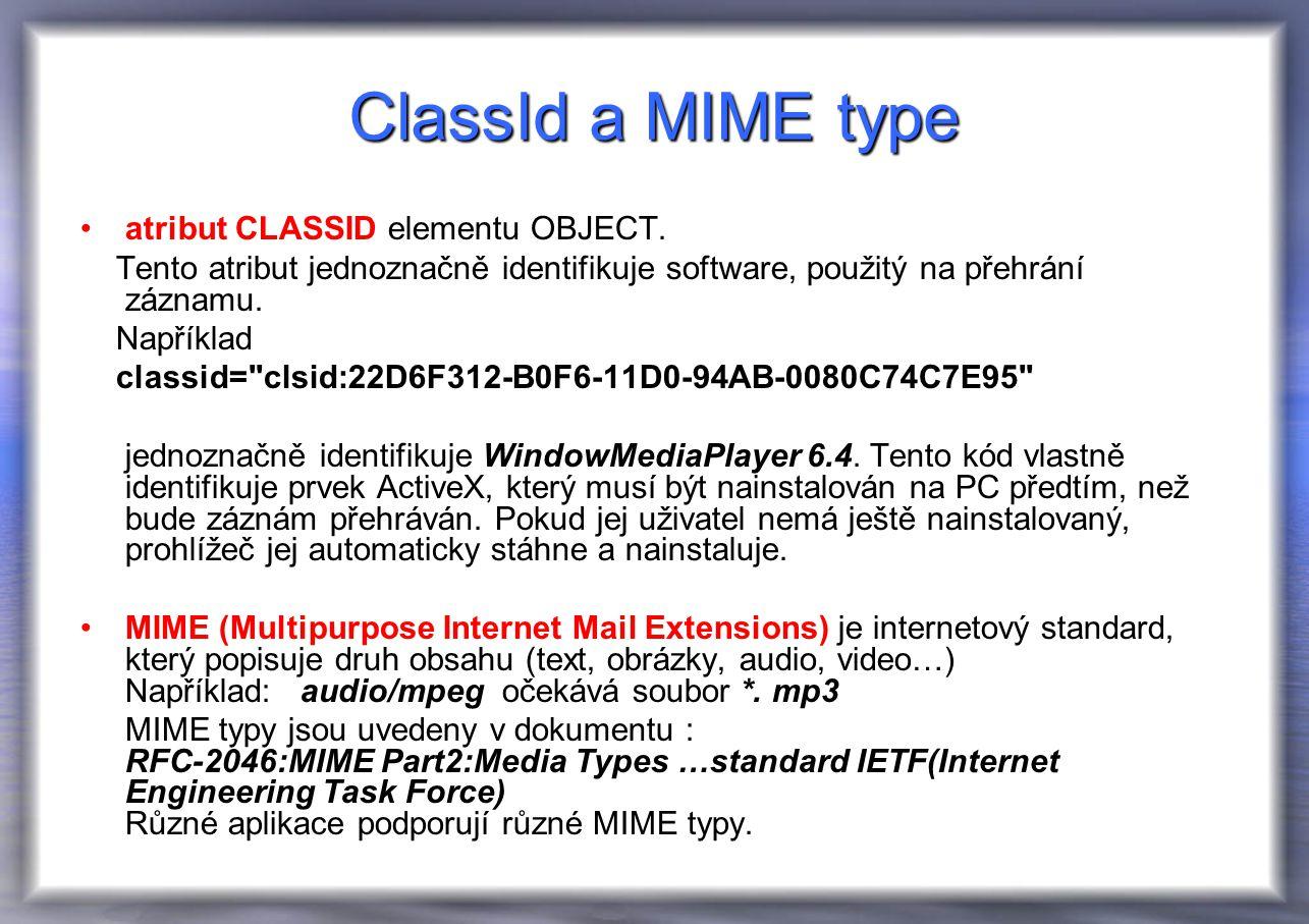 ClassId a MIME type atribut CLASSID elementu OBJECT.