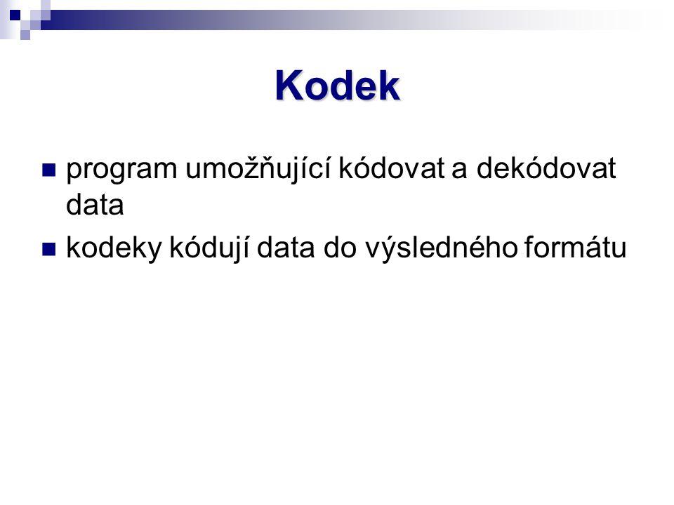 Kodek program umožňující kódovat a dekódovat data kodeky kódují data do výsledného formátu