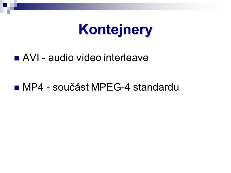 Kontejnery AVI - audio video interleave MP4 - součást MPEG-4 standardu