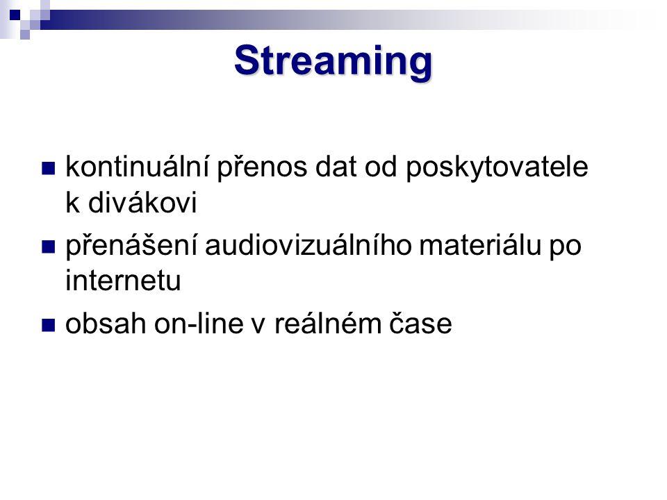 Streaming kontinuální přenos dat od poskytovatele k divákovi přenášení audiovizuálního materiálu po internetu obsah on-line v reálném čase