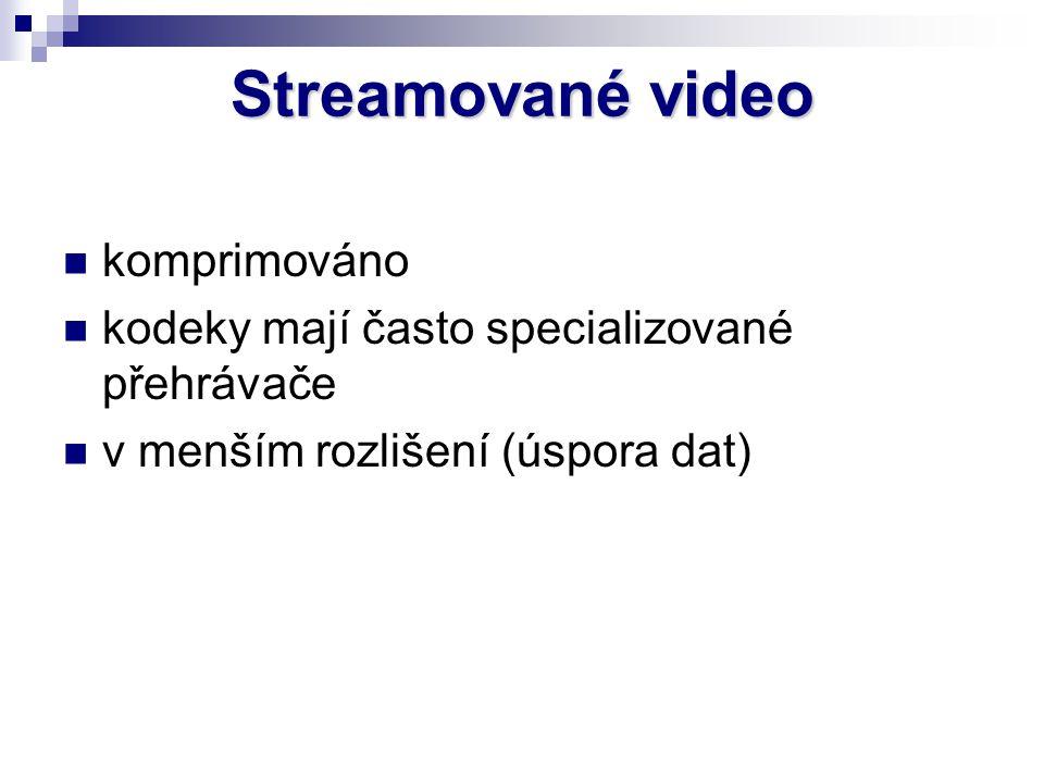 Streamované video komprimováno kodeky mají často specializované přehrávače v menším rozlišení (úspora dat)