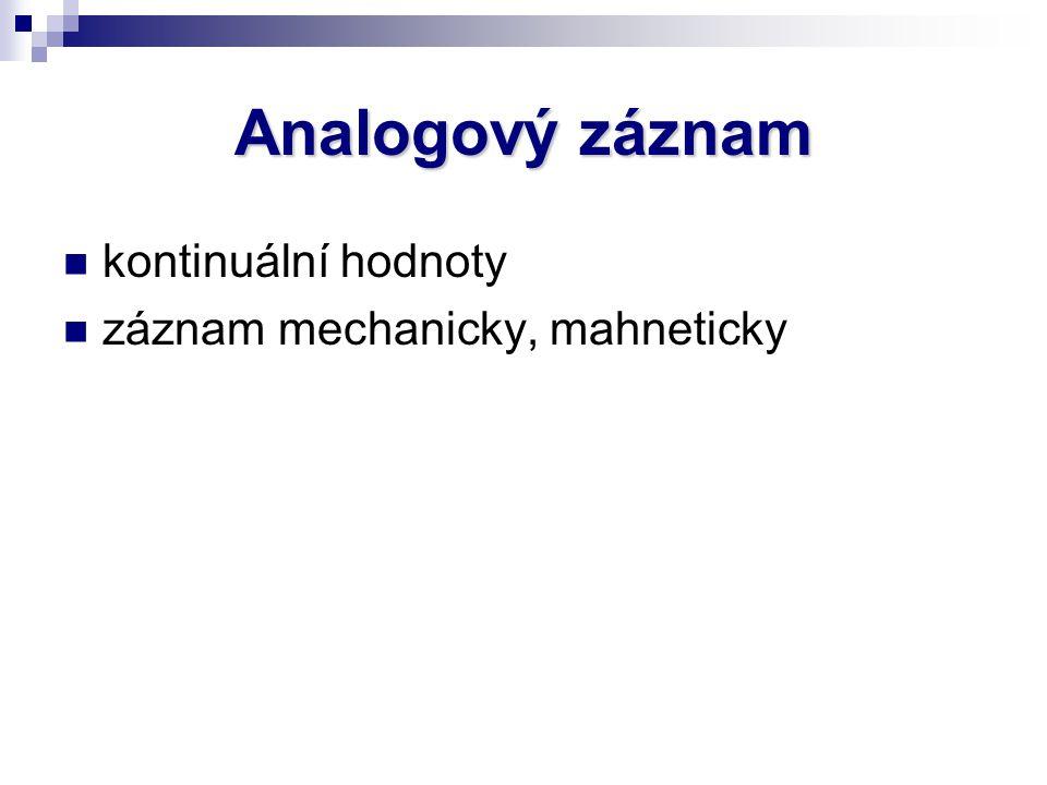 Analogový záznam kontinuální hodnoty záznam mechanicky, mahneticky