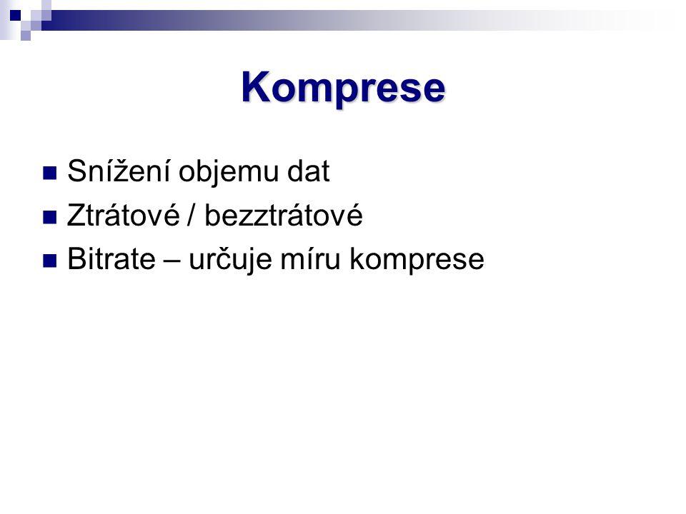 Komprese Snížení objemu dat Ztrátové / bezztrátové Bitrate – určuje míru komprese