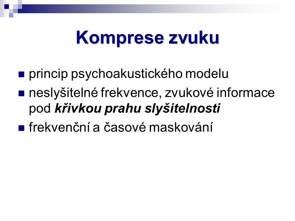 Komprese zvuku princip psychoakustického modelu neslyšitelné frekvence, zvukové informace pod křivkou prahu slyšitelnosti frekvenční a časové maskován