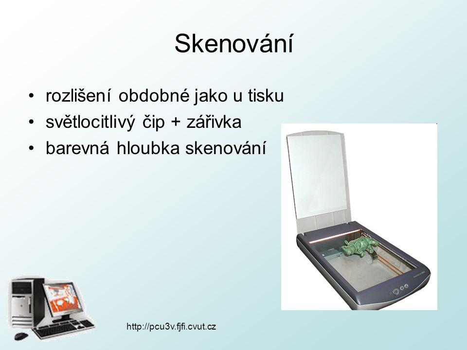 http://pcu3v.fjfi.cvut.cz Skenování rozlišení obdobné jako u tisku světlocitlivý čip + zářivka barevná hloubka skenování