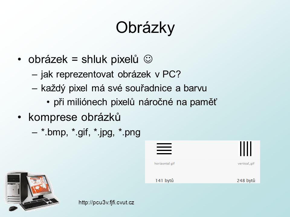 http://pcu3v.fjfi.cvut.cz Obrázky obrázek = shluk pixelů –jak reprezentovat obrázek v PC.