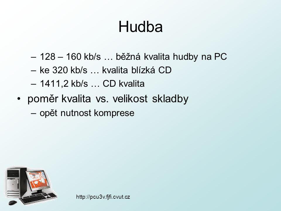 http://pcu3v.fjfi.cvut.cz Hudba –128 – 160 kb/s … běžná kvalita hudby na PC –ke 320 kb/s … kvalita blízká CD –1411,2 kb/s … CD kvalita poměr kvalita vs.