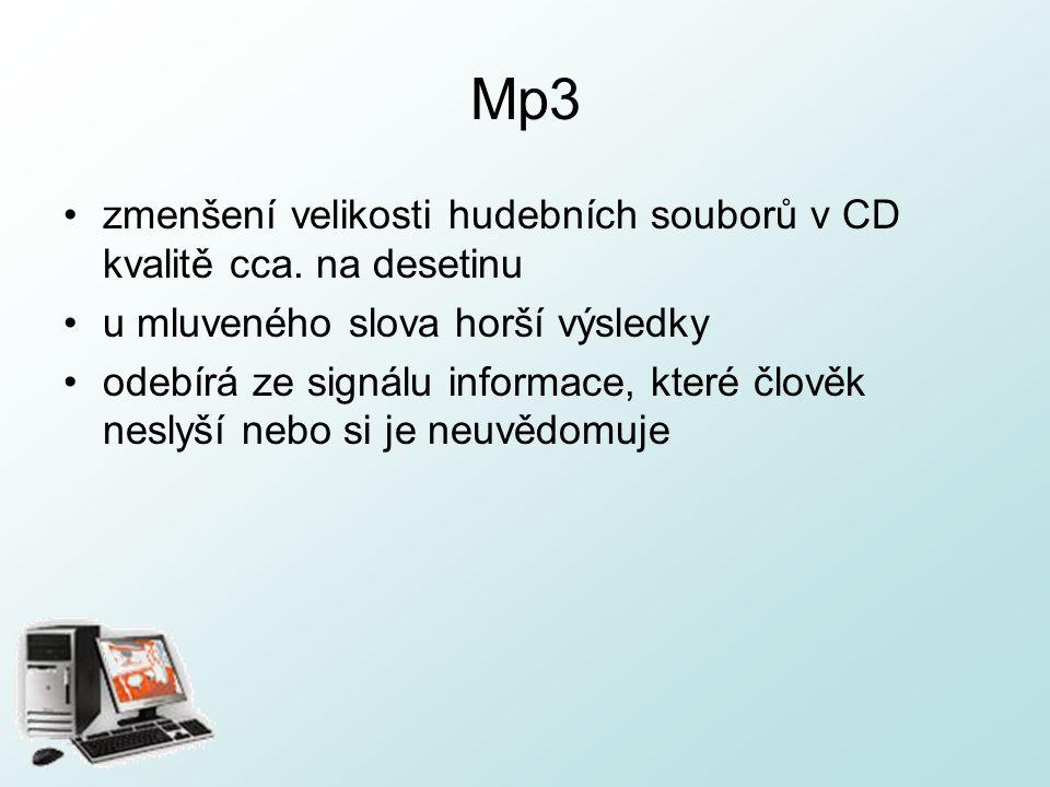 Mp3 zmenšení velikosti hudebních souborů v CD kvalitě cca.