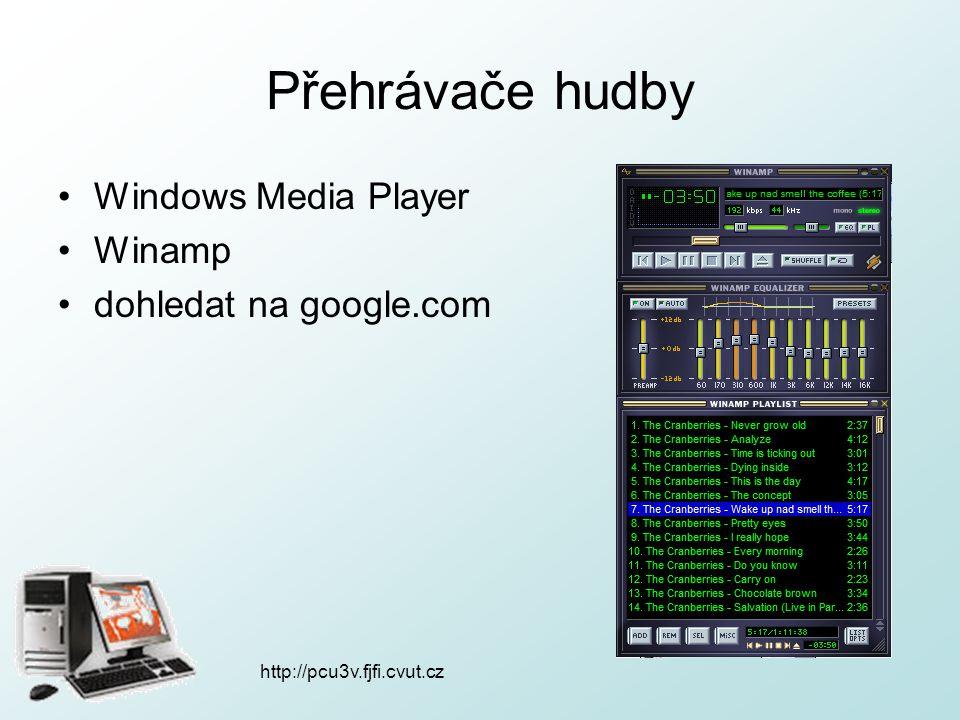 http://pcu3v.fjfi.cvut.cz Přehrávače hudby Windows Media Player Winamp dohledat na google.com