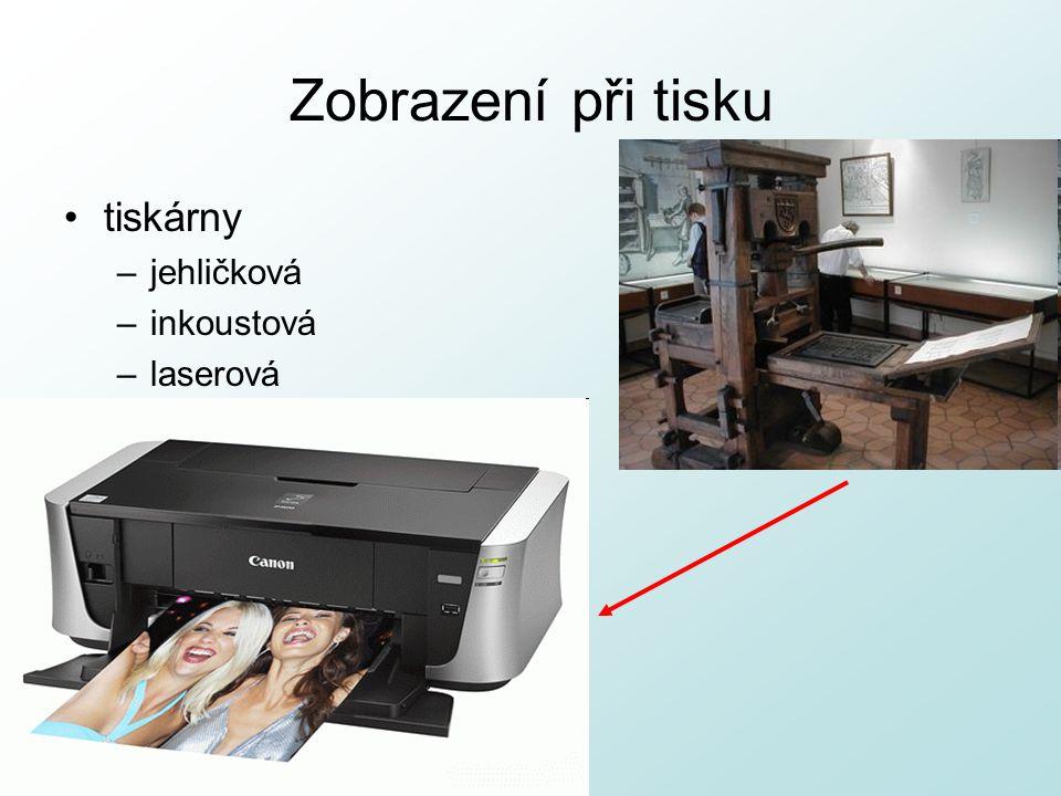 Zobrazení při tisku tiskárny –jehličková –inkoustová –laserová