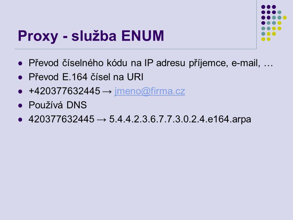 Proxy - služba ENUM Převod číselného kódu na IP adresu příjemce, e-mail, … Převod E.164 čísel na URI +420377632445 → jmeno@firma.czjmeno@firma.cz Používá DNS 420377632445 → 5.4.4.2.3.6.7.7.3.0.2.4.e164.arpa