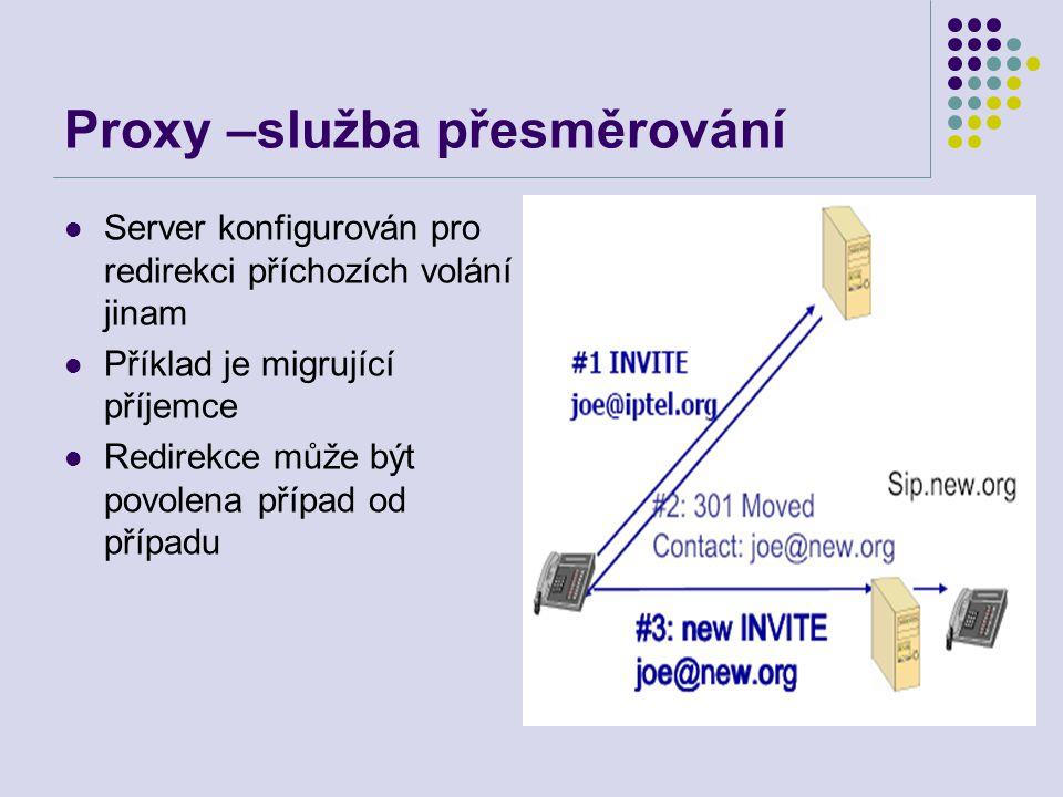 Proxy –služba přesměrování Server konfigurován pro redirekci příchozích volání jinam Příklad je migrující příjemce Redirekce může být povolena případ od případu