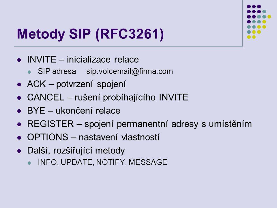 Metody SIP (RFC3261) INVITE – inicializace relace SIP adresa sip:voicemail@firma.com ACK – potvrzení spojení CANCEL – rušení probíhajícího INVITE BYE – ukončení relace REGISTER – spojení permanentní adresy s umístěním OPTIONS – nastavení vlastností Další, rozšiřující metody INFO, UPDATE, NOTIFY, MESSAGE