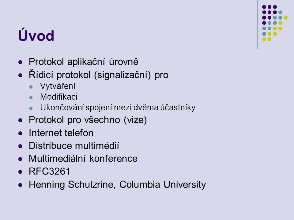 Úvod Protokol aplikační úrovně Řídicí protokol (signalizační) pro Vytváření Modifikaci Ukončování spojení mezi dvěma účastníky Protokol pro všechno (vize) Internet telefon Distribuce multimédií Multimediální konference RFC3261 Henning Schulzrine, Columbia University