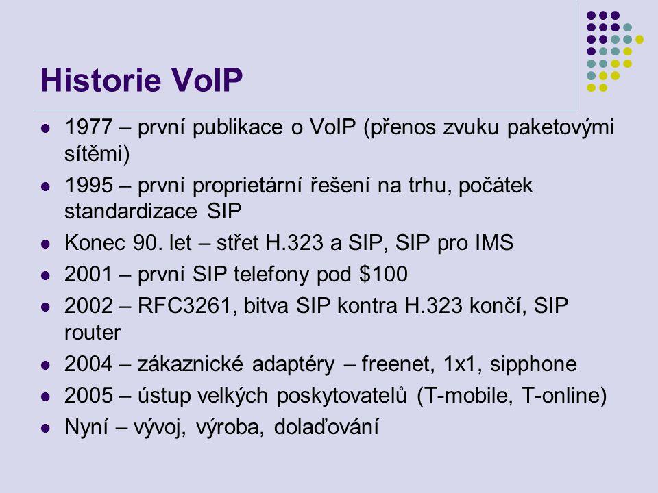 Historie VoIP 1977 – první publikace o VoIP (přenos zvuku paketovými sítěmi) 1995 – první proprietární řešení na trhu, počátek standardizace SIP Konec 90.