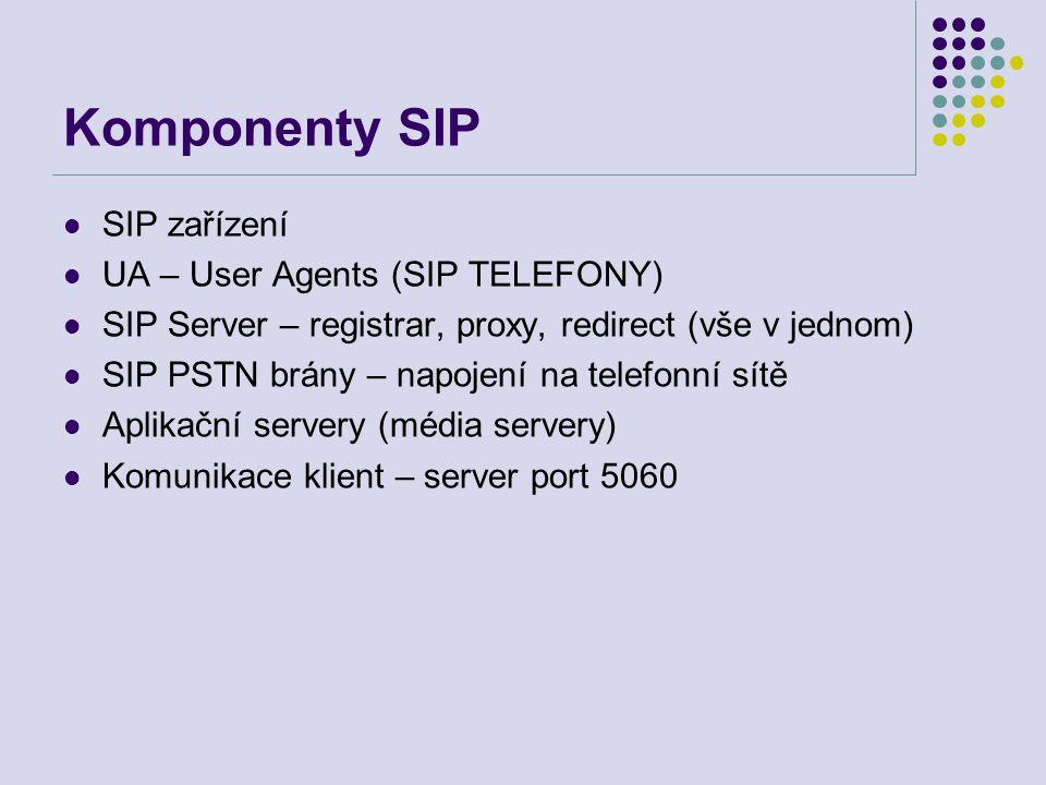 Komponenty SIP SIP registrar Příjem požadavků na registraci od uživatelů Udržuje tabulky uživatelů na Location Server SIP proxy server Přepíná signalizaci navazování spojení Bezestavový nebo stavový Transparentní vzhledem ke koncovým stanicím Podporuje další služby (přepínání hovorů, větvení) SIP redirect server Redirekce volání na ostatní servery Měl by být využit pro dobře škálovatelnou distribuci zatížení Typicky realizováno v jednom serveru
