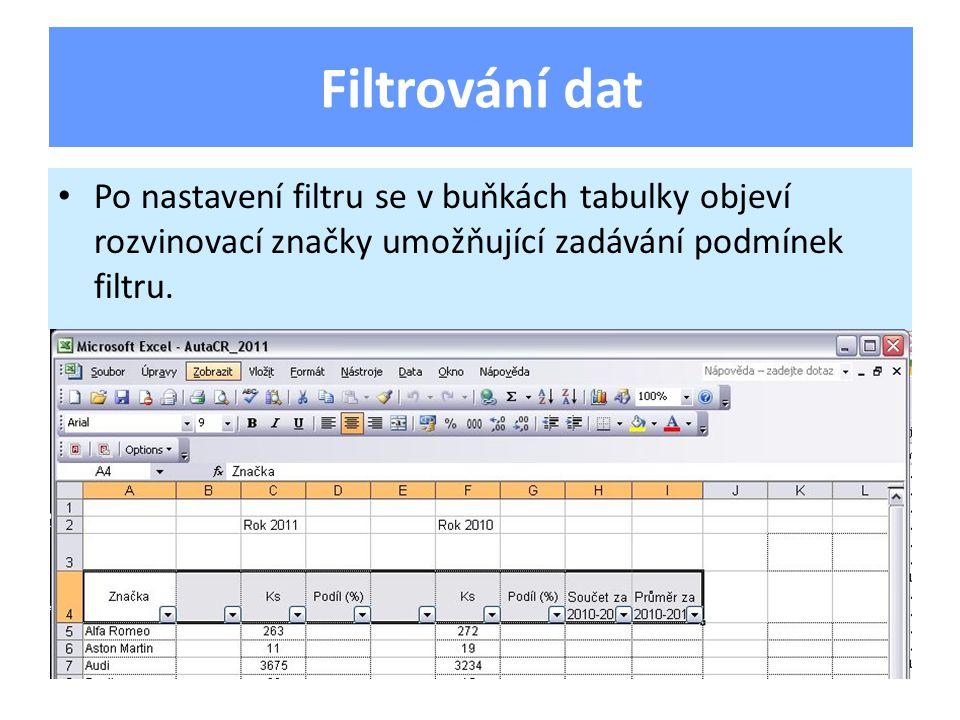 Po nastavení filtru se v buňkách tabulky objeví rozvinovací značky umožňující zadávání podmínek filtru. Filtrování dat
