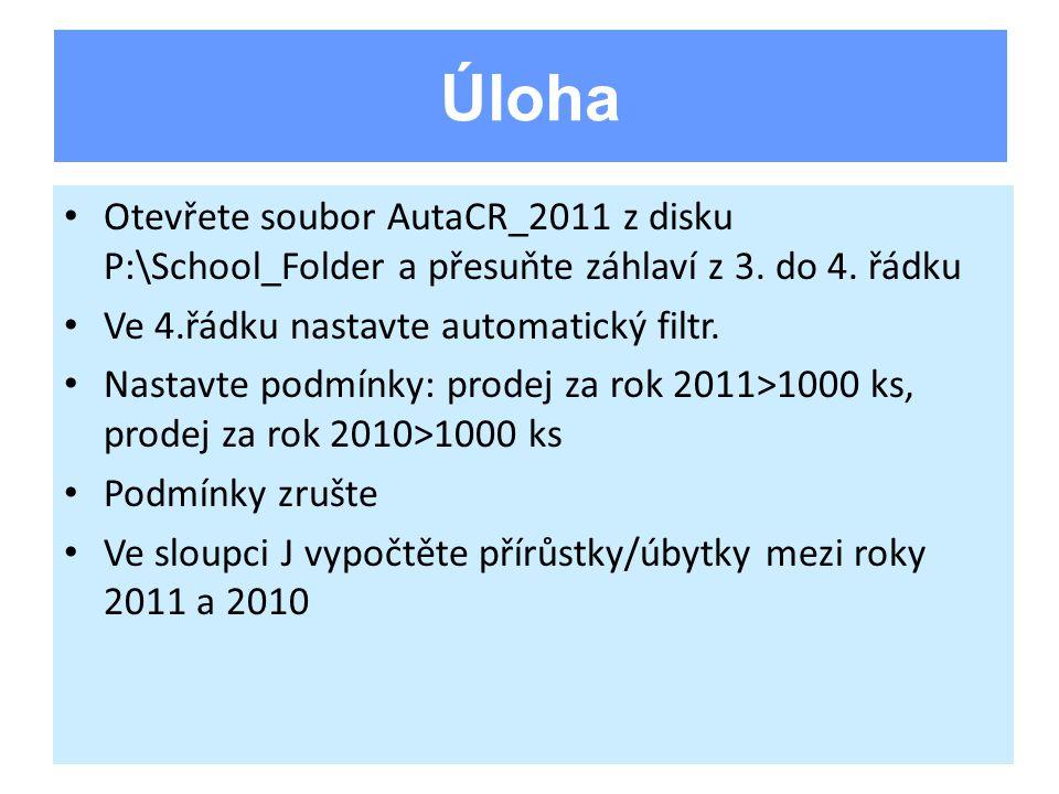 Otevřete soubor AutaCR_2011 z disku P:\School_Folder a přesuňte záhlaví z 3. do 4. řádku Ve 4.řádku nastavte automatický filtr. Nastavte podmínky: pro