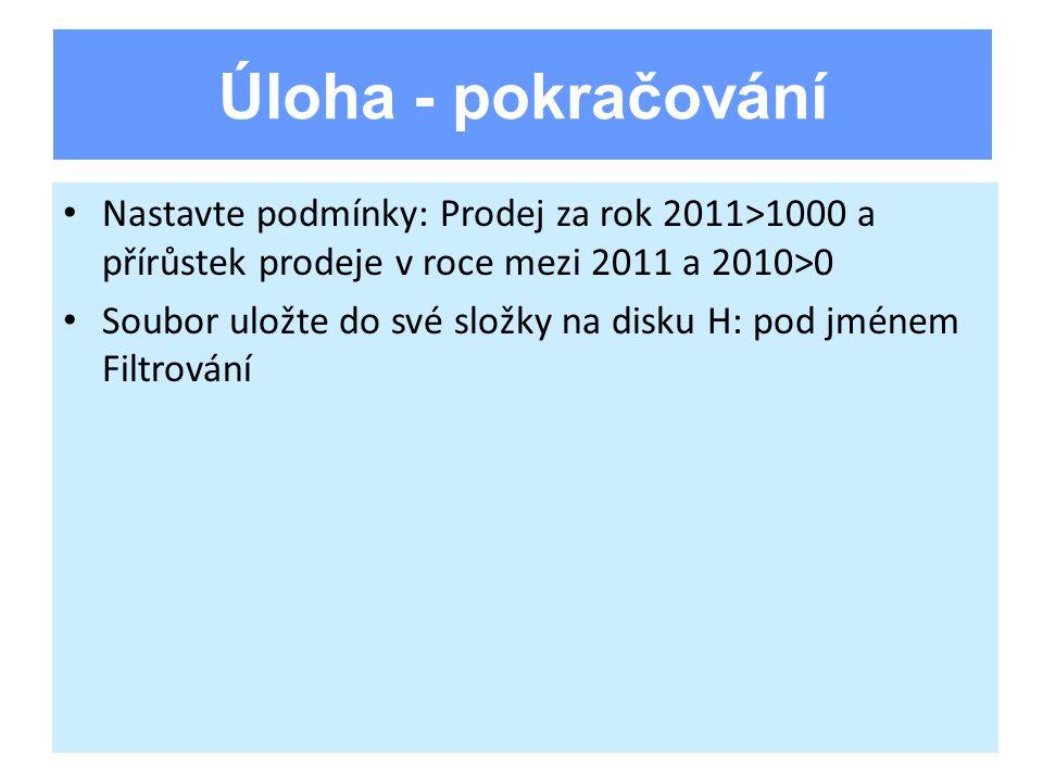 Nastavte podmínky: Prodej za rok 2011>1000 a přírůstek prodeje v roce mezi 2011 a 2010>0 Soubor uložte do své složky na disku H: pod jménem Filtrování