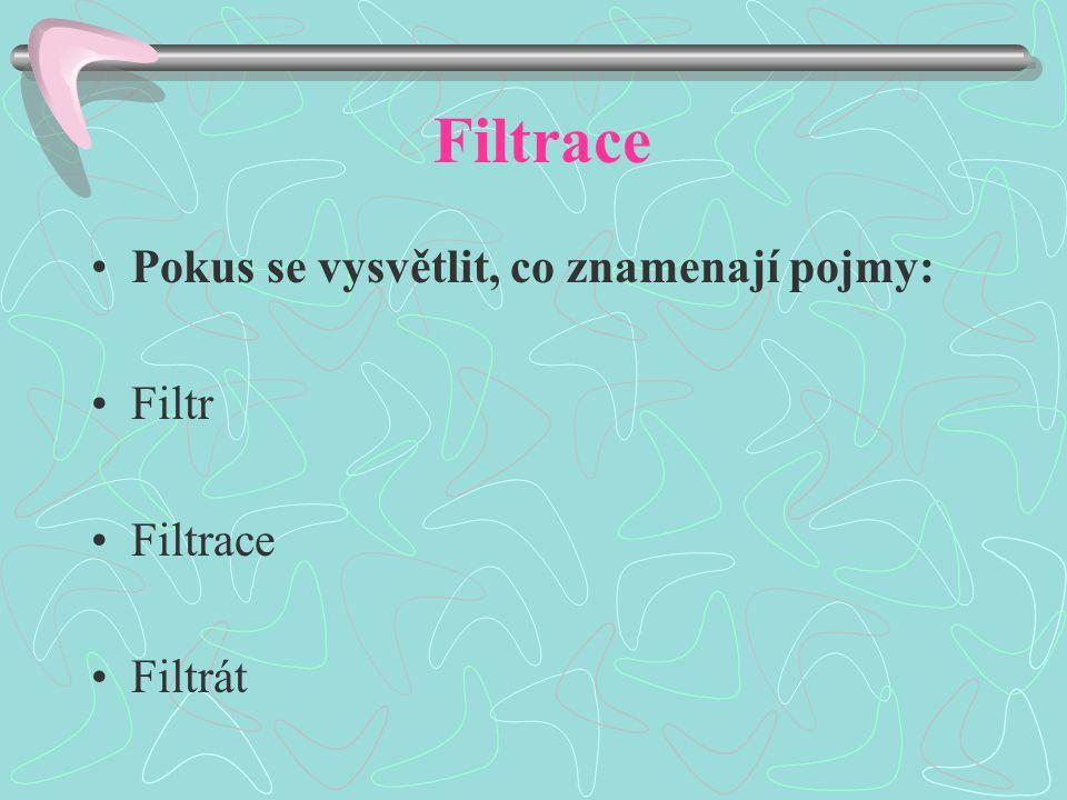 Filtrace Pokus se vysvětlit, co znamenají pojmy: Filtr Filtrace Filtrát
