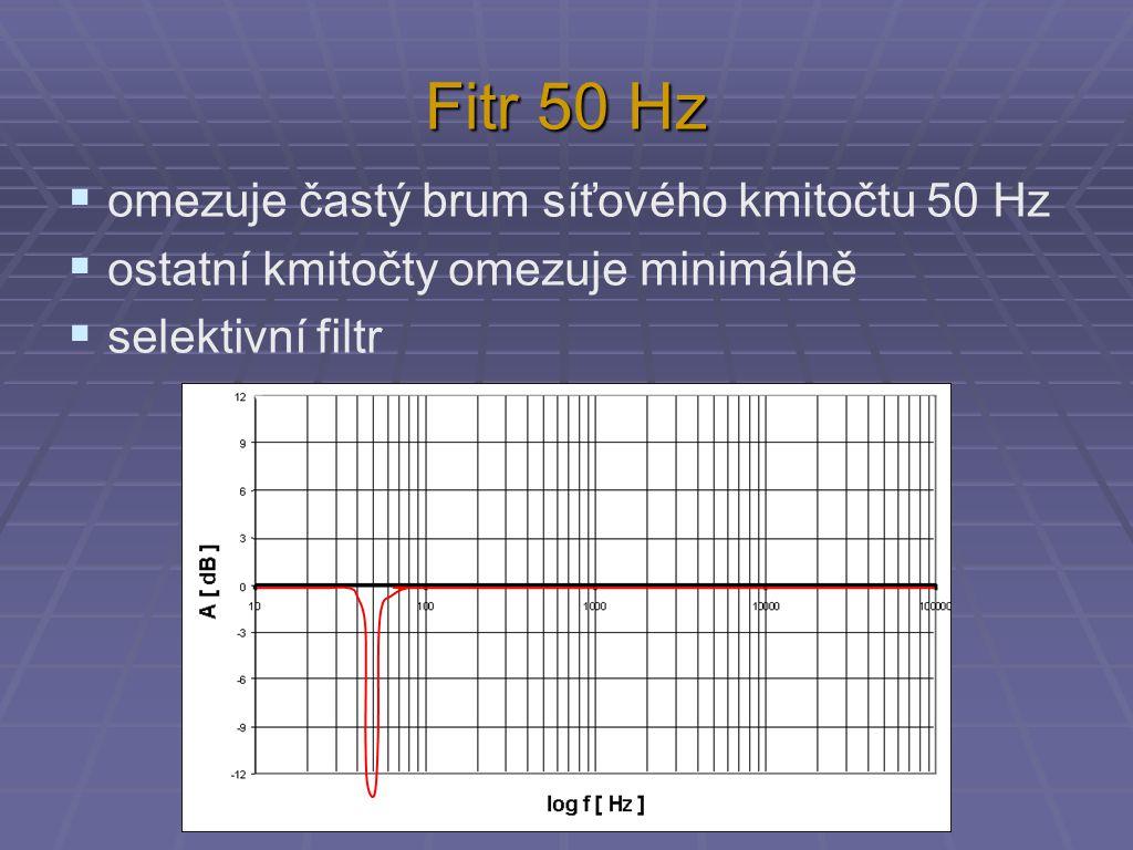 Fitr 50 Hz  omezuje častý brum síťového kmitočtu 50 Hz  ostatní kmitočty omezuje minimálně  selektivní filtr