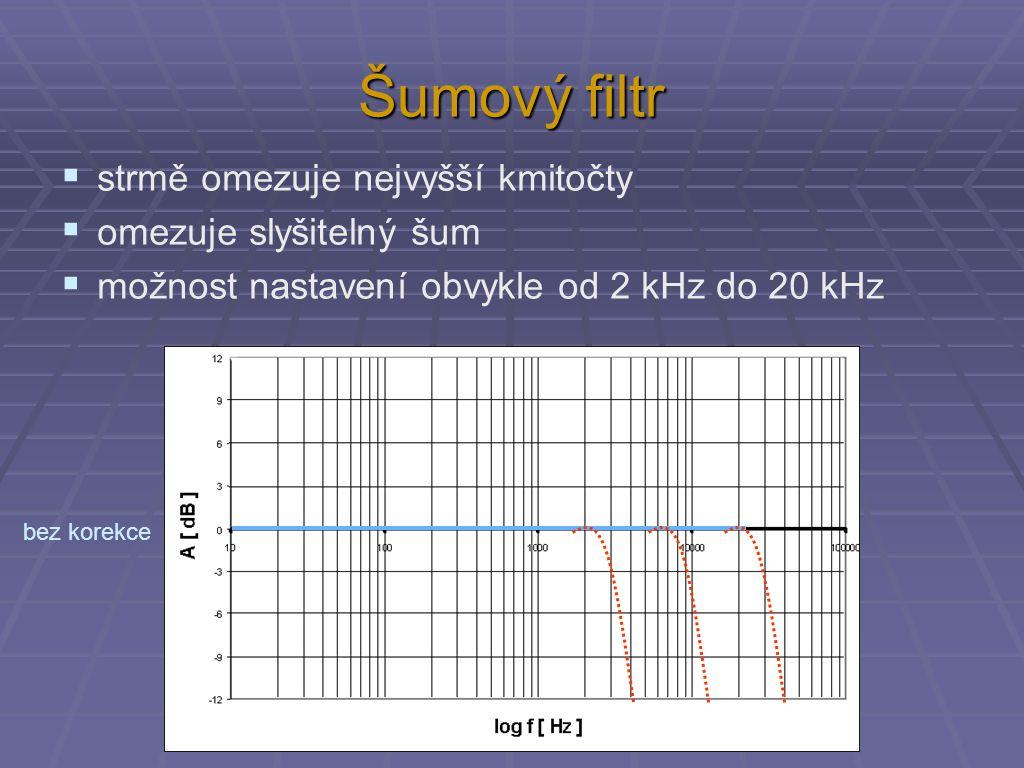 Šumový filtr  strmě omezuje nejvyšší kmitočty  omezuje slyšitelný šum  možnost nastavení obvykle od 2 kHz do 20 kHz bez korekce