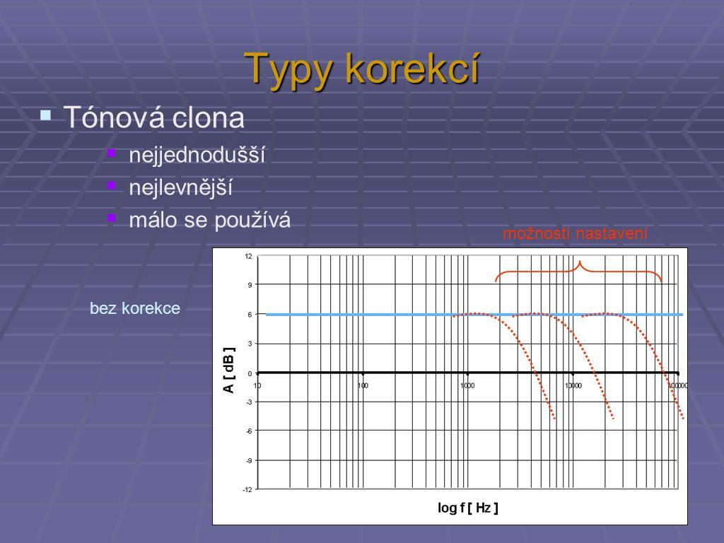 Typy korekcí  Tónová clona  nejjednodušší  nejlevnější  málo se používá bez korekce možnosti nastavení