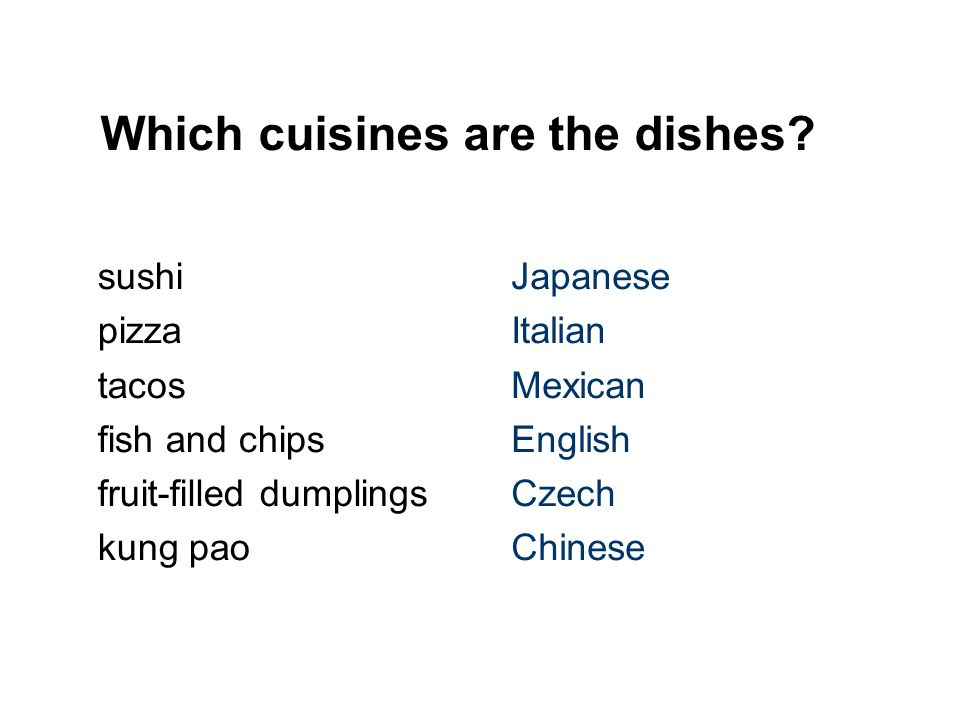 Which cuisines are the dishes.