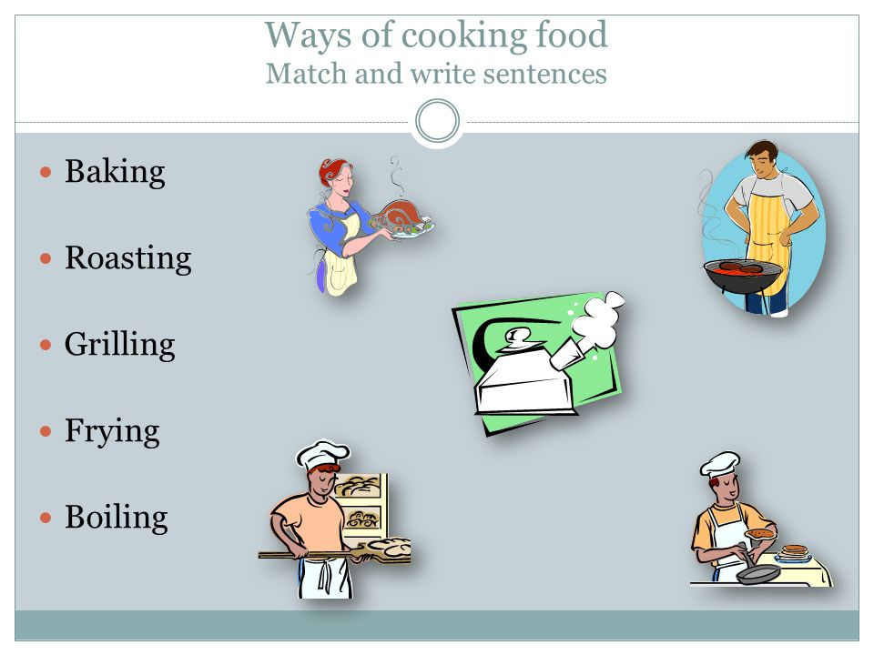 Ways of cooking food Solution boiling grilling roasting baking frying Her roasted duck is delicious.