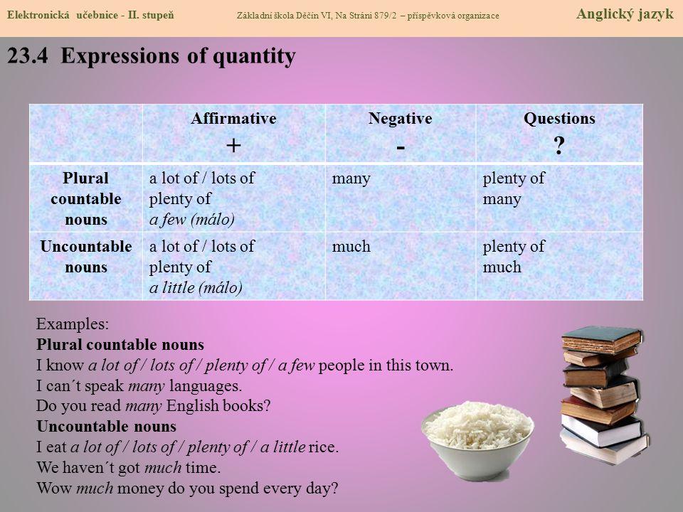 23.4 Expressions of quantity Elektronická učebnice - II.