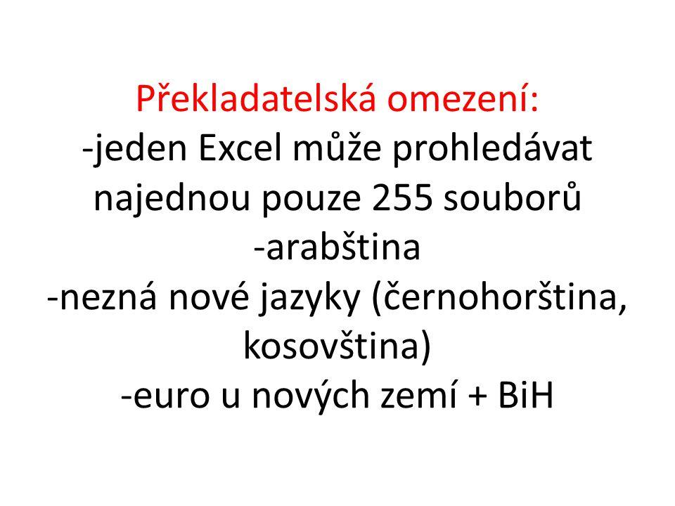 Překladatelská omezení: -jeden Excel může prohledávat najednou pouze 255 souborů -arabština -nezná nové jazyky (černohorština, kosovština) -euro u nových zemí + BiH